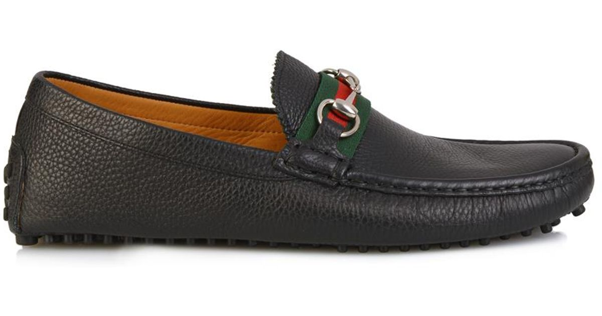 b9d4bd037aa Lyst - Gucci Damo Leather Driving Shoes in Black for Men