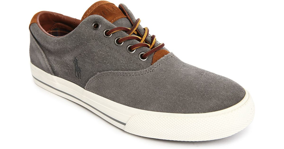 polo ralph vaughn grey suede leather laced sneakers