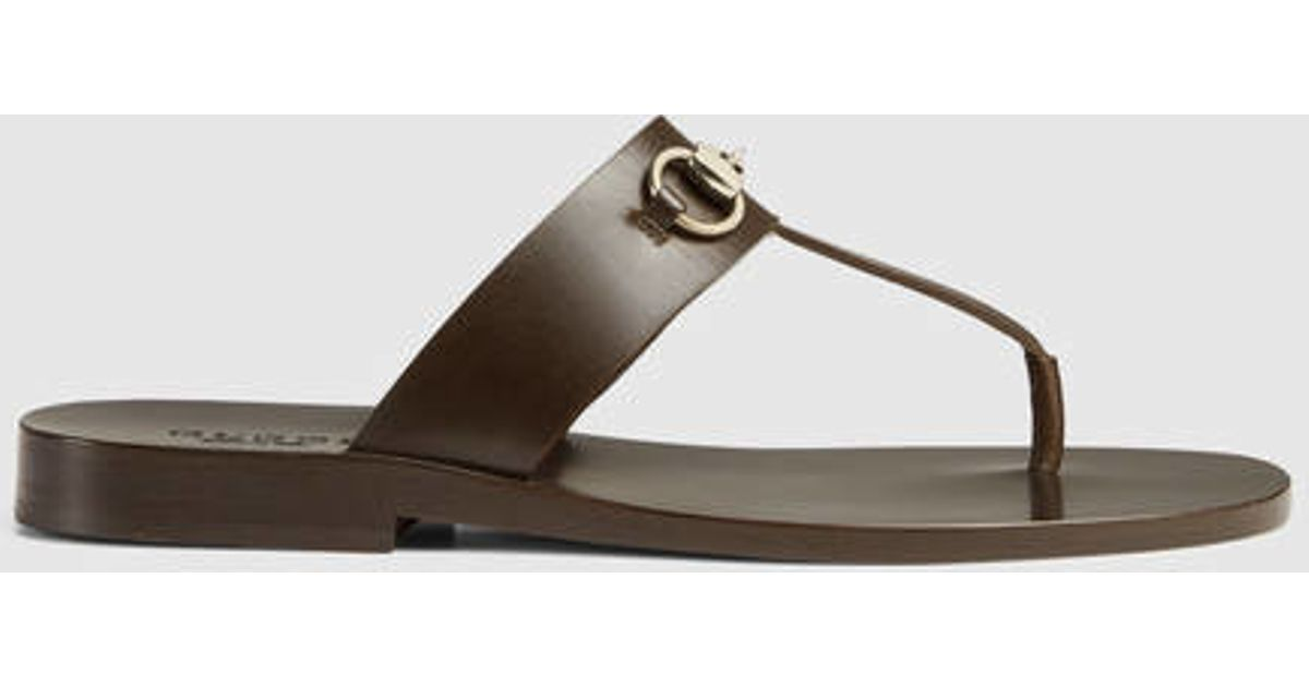 4134f8993 Lyst - Gucci Leather Horsebit Thong Sandal in Brown for Men