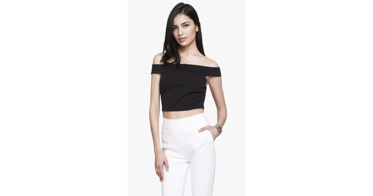 ec9fcbc8ecd458 Lyst - Express Off The Shoulder Knit Cropped Top in Black