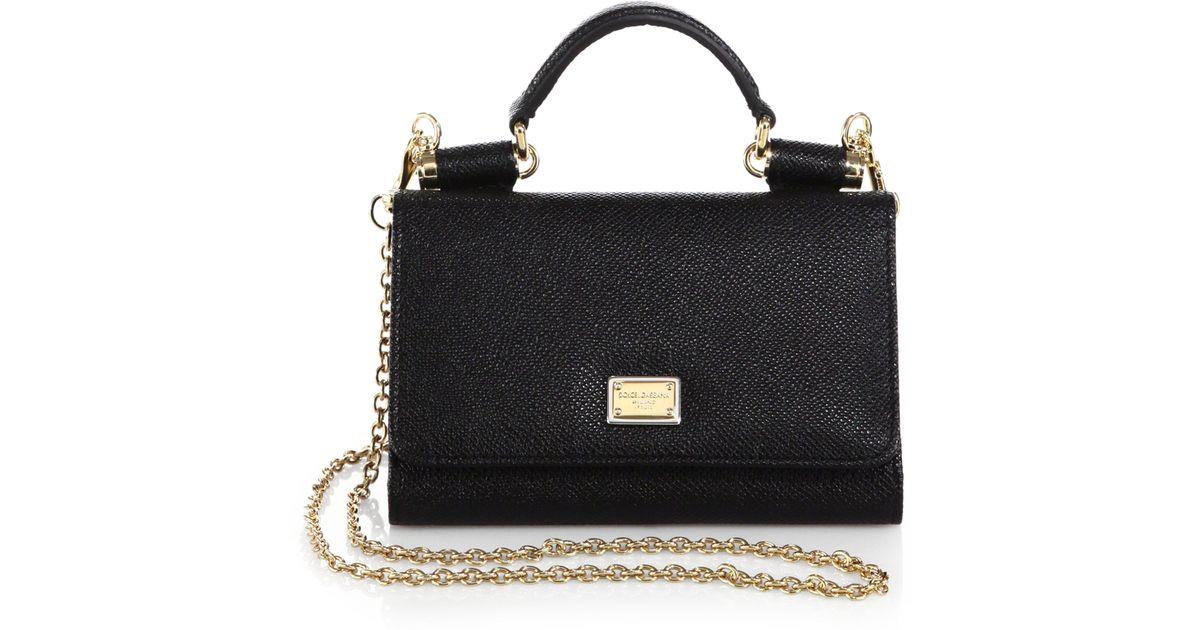 87324ac884 Lyst - Dolce   Gabbana Miss Sicily Mini Chain Wallet in Black