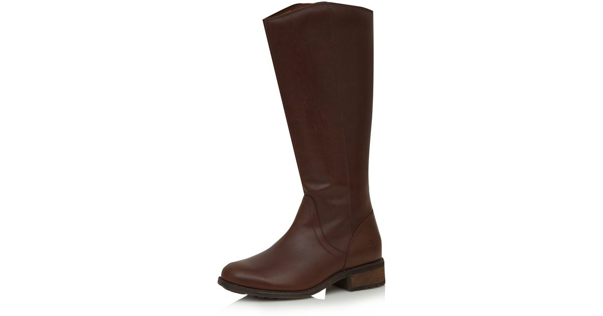 9b9a8b262b2 Lyst - UGG Brown Leather Seldon Flat Knee High Boots in Brown