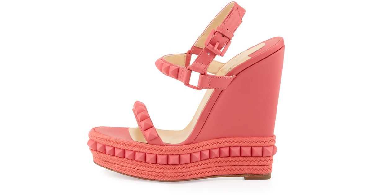 christian louboutins shoes for men - Christian louboutin Cataclou Studded Wedge Sandal Pink in Pink | Lyst