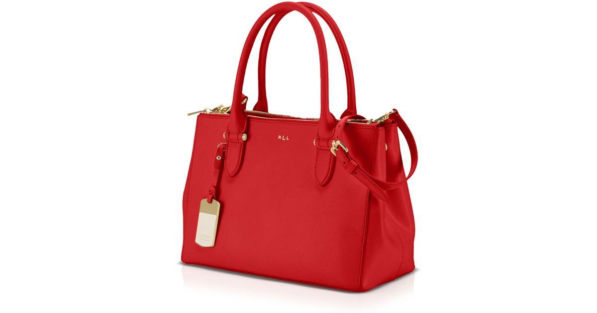 parhaiten rakastettu New York suosittu tuotemerkki Ralph Lauren Red Lauren Tote - Newbury Double Zip Shopper
