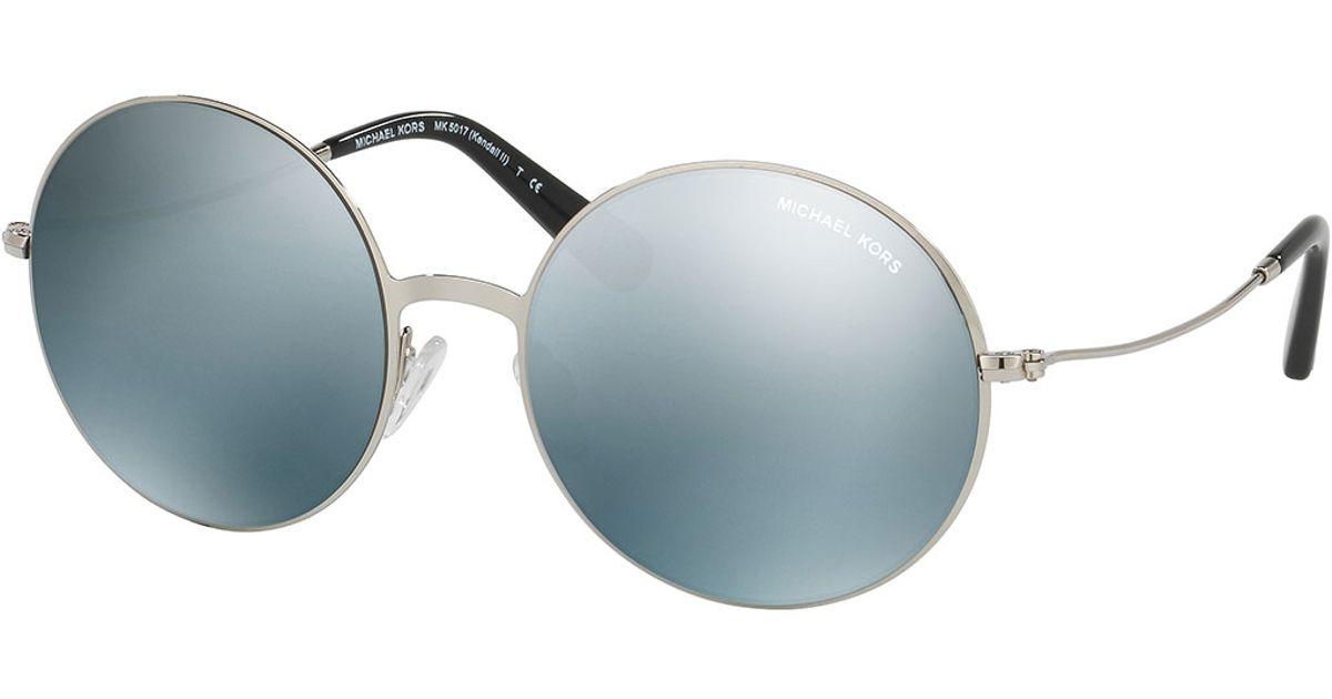 22da0a40f584fb Lyst - Michael Kors Round Flash Metal Sunglasses in Blue