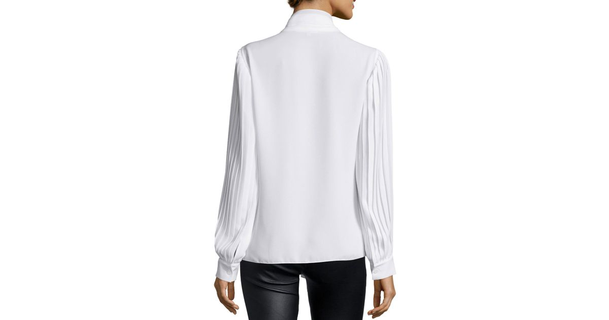 183286962c649 Lyst - Michael Kors Pleated-sleeve Tie-neck Blouse in White