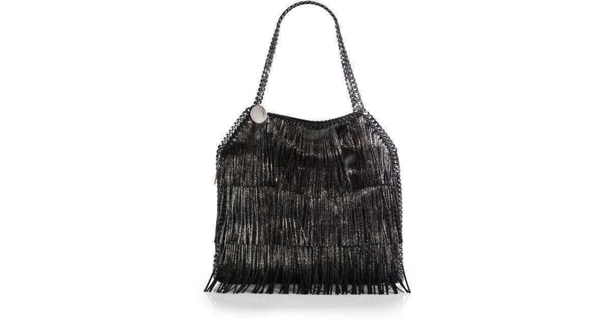 30e21b5c1514 Lyst - Stella McCartney Baby Bella Metallic Fringe Shoulder Bag in Black