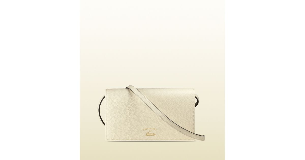f98731af51a59a Gucci Swing Leather Wallet With Strap in White - Lyst