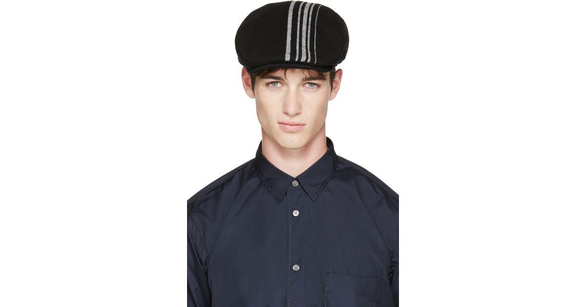 28720e202ce Lyst - Comme des Garçons Black And Grey Striped Flat Cap in Black for Men