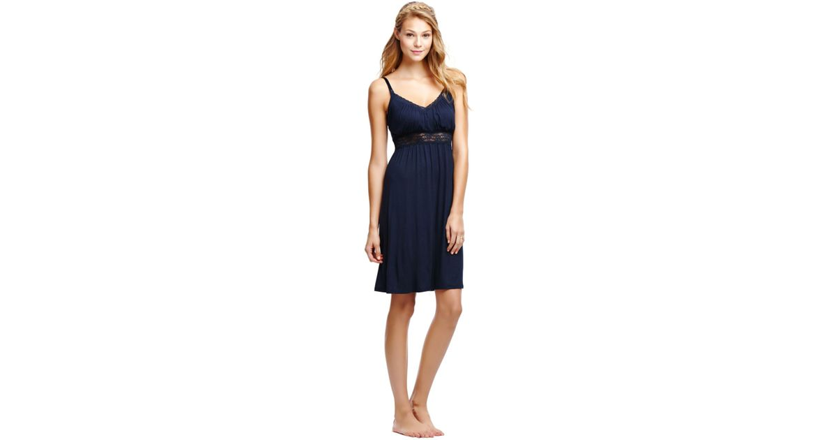 8234bf6f80 Lyst - Jessica Simpson Maternity Lace-trim Illusion Nursing Nightgown in  Blue