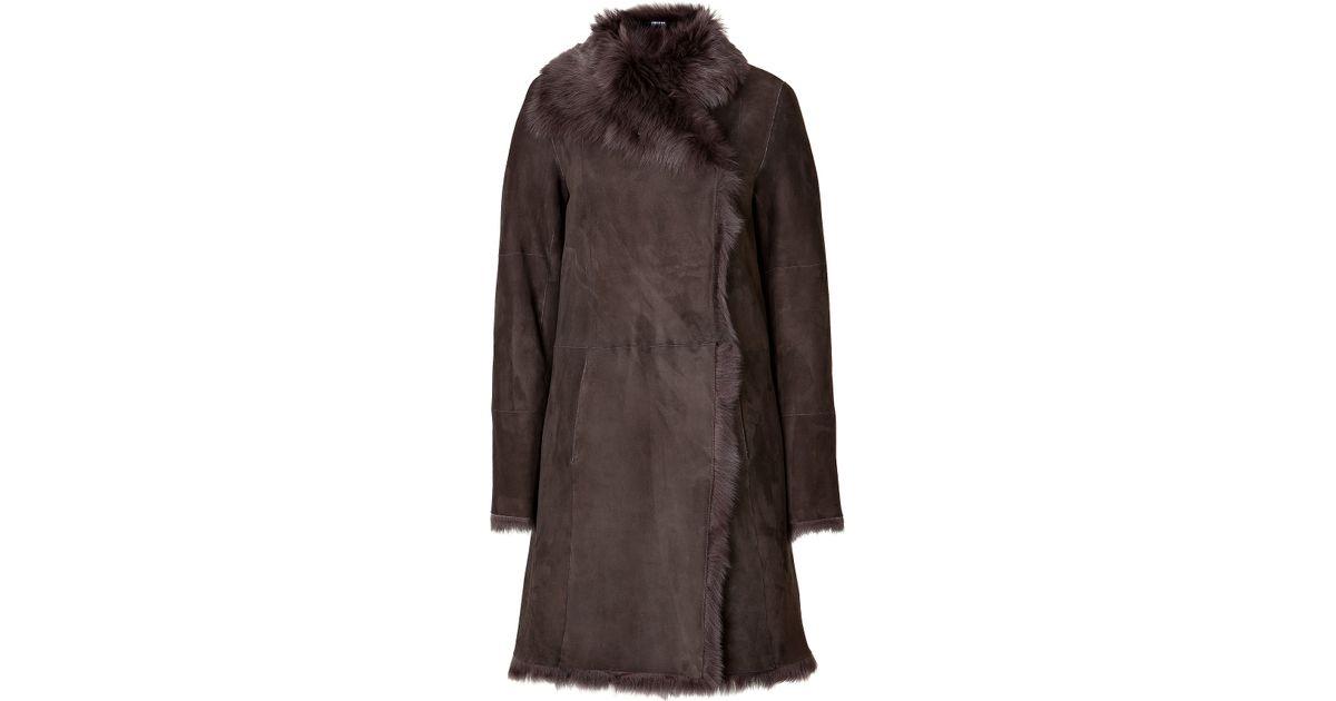 Joseph Shearling Coat in Brown | Lyst