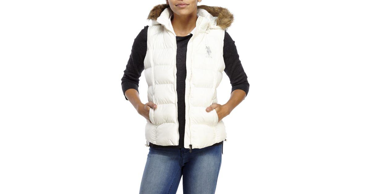 Faux Fur Hooded Logo Puffer Vest in White | Lyst - U.s. Polo Assn. Faux Fur Hooded Logo Puffer Vest In White Lyst