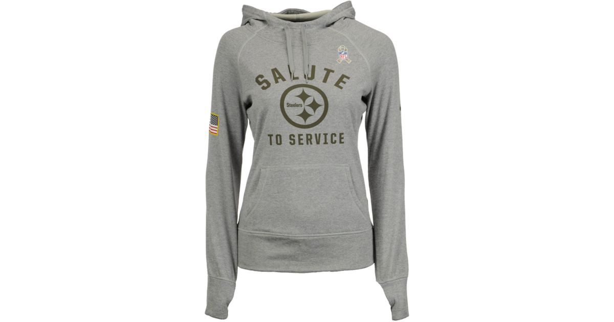 online retailer 887f9 f22e5 Nike Gray Pittsburgh Steelers Salute To Service Hoodie