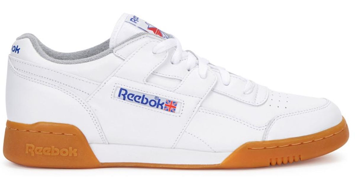 b0026f12b8c73 Reebok Workout Plus R12 White Leather Trainers in White for Men - Lyst
