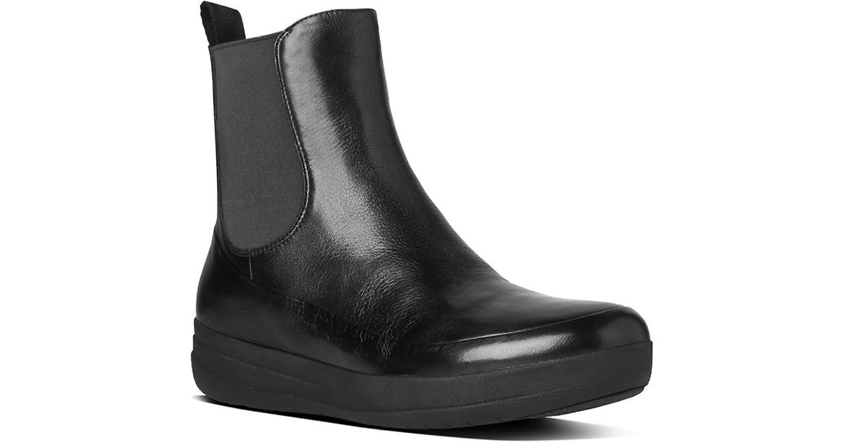 fitflop chelsea tm leather boots in black lyst
