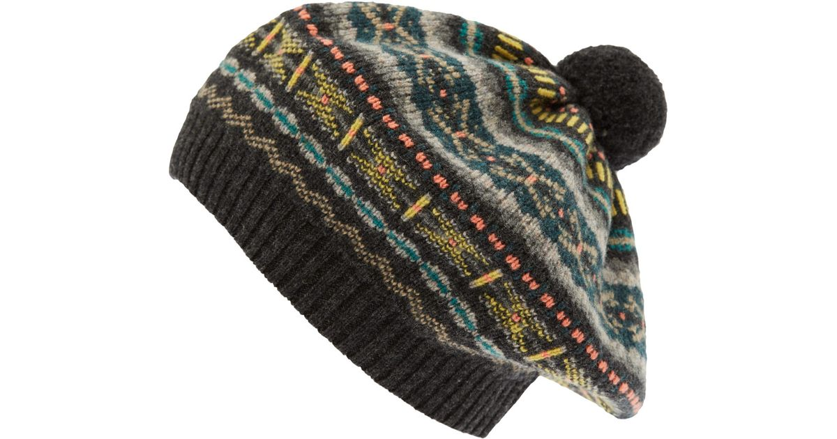 Jo gordon Dark Grey Knit Fair Isle Tammy Hat in Gray for Men | Lyst