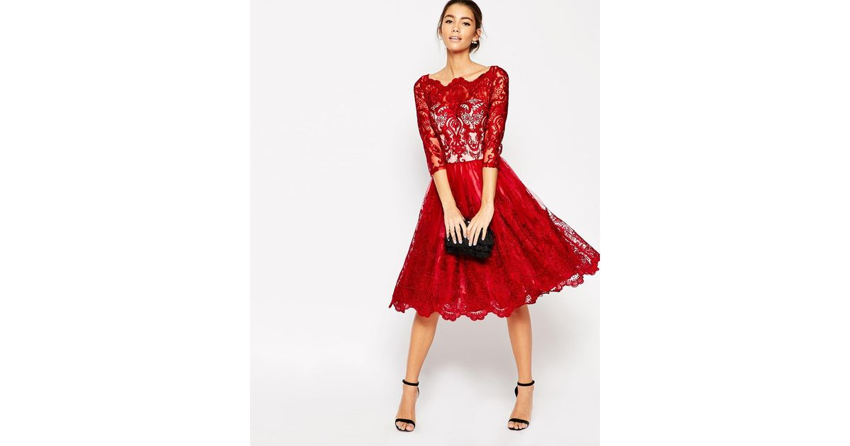 94ea7c15c5c8 Lyst - Chi Chi London Premium Lace Midi Prom Dress With Bardot Neck And 3 4  Sleeve in Red