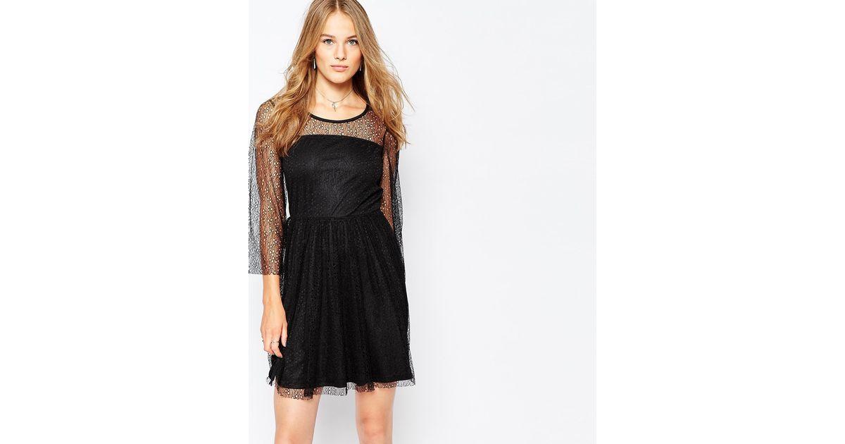 653a9c4f256 Black Skater Dress With Sleeves Uk   Vila lace sleeve skater dress in black  lyst