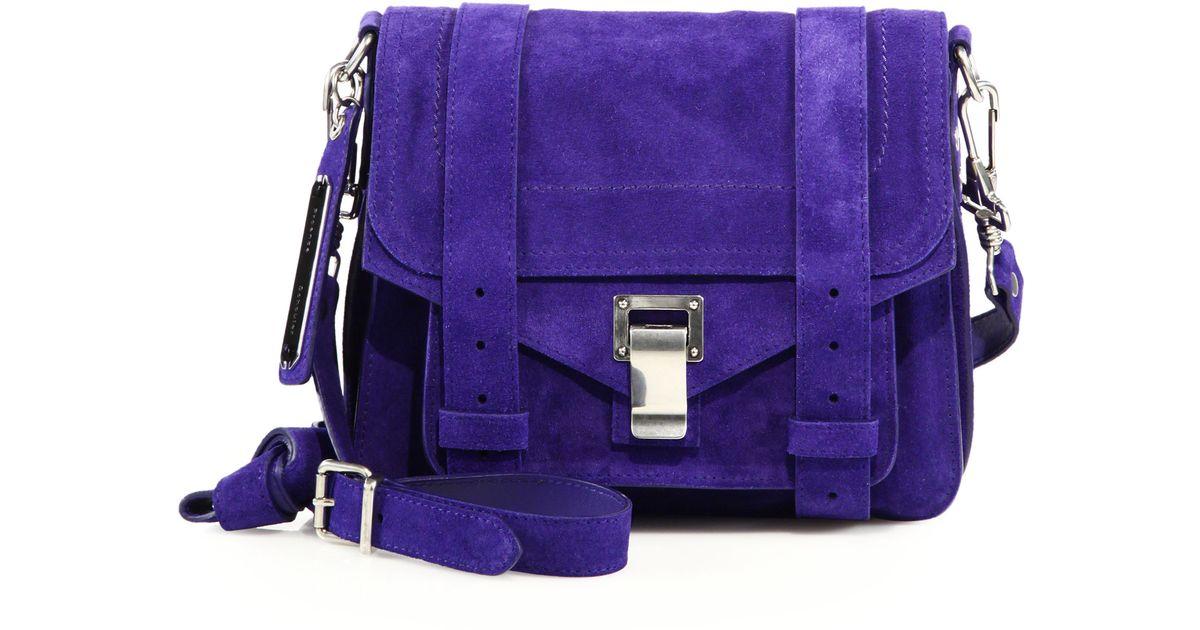 ... lyst proenza schouler ps1 pouch suede crossbody bag in purple ... 7dbf07d656