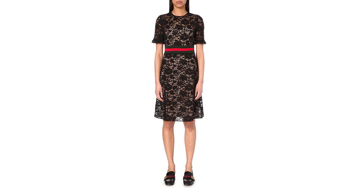 bd84a5ed31e Gucci Striped Floral-lace Dress in Black - Lyst