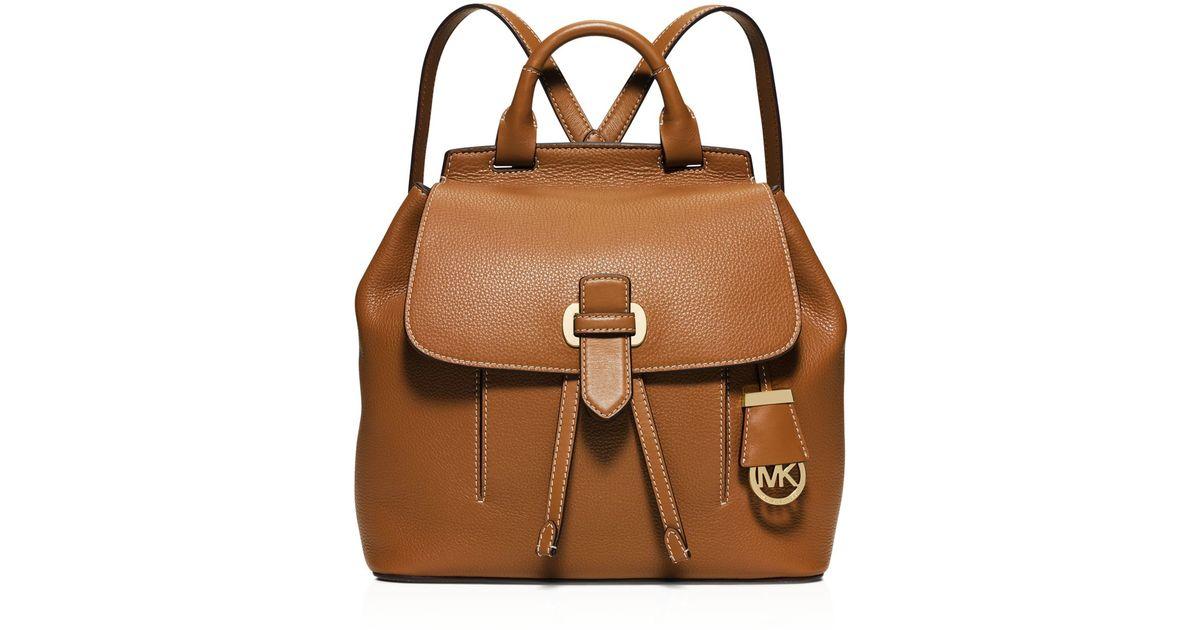 ae1d2066e03e Michael Kors Romy Medium Leather Backpack in Brown - Lyst