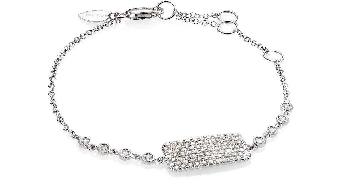 Meira t Diamond & 14k White Gold Eight bezel Bar Bracelet in White