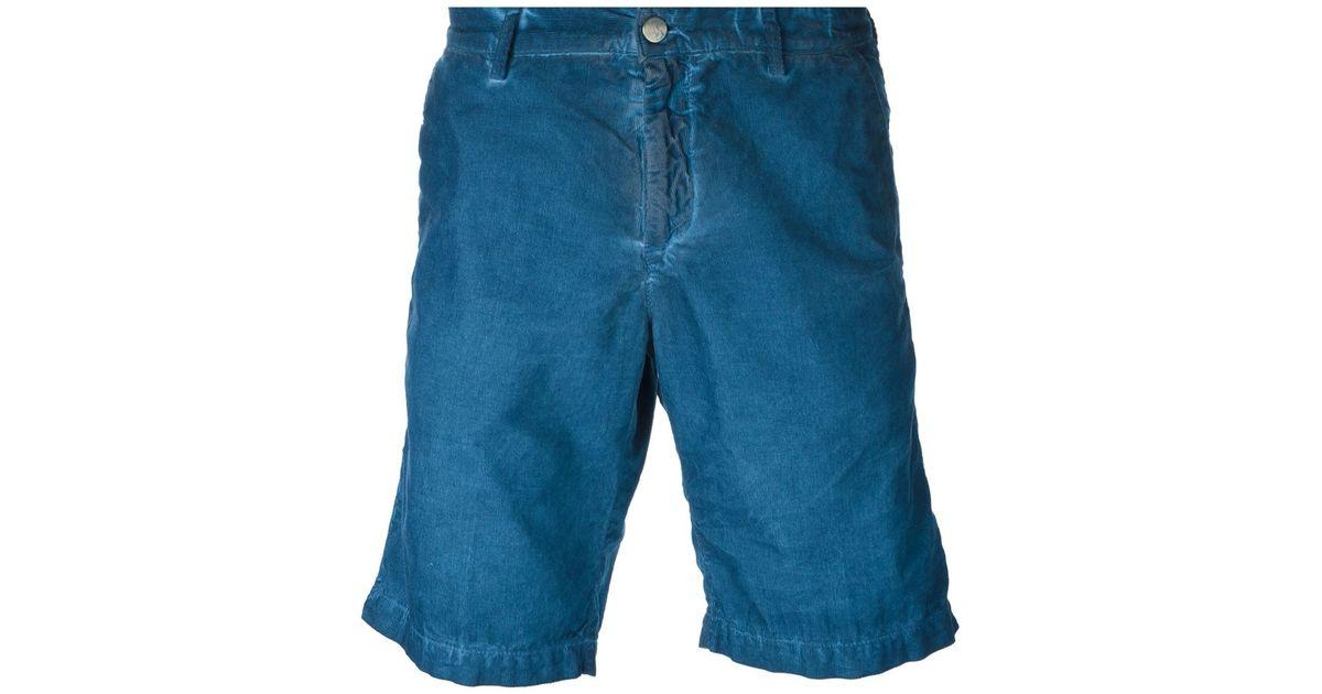 MASSIMO ALBA Slim-fit Watercolour-dyed Cotton-corduroy Shorts - Blue oKQkH