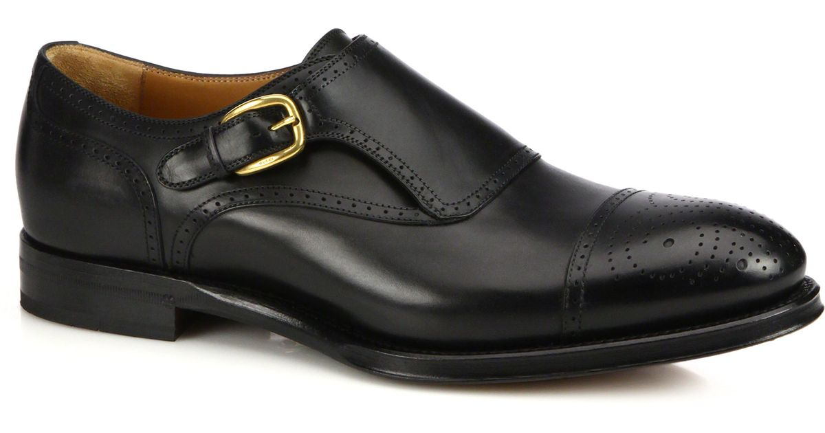 Gucci Brogued Monk-strap Leather Shoes