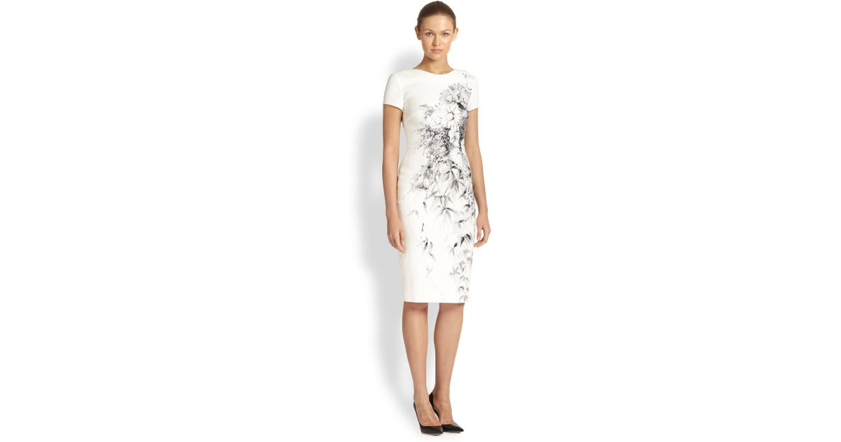 Carolina Herrera Floral Print Piqueacute Dress in White - Lyst