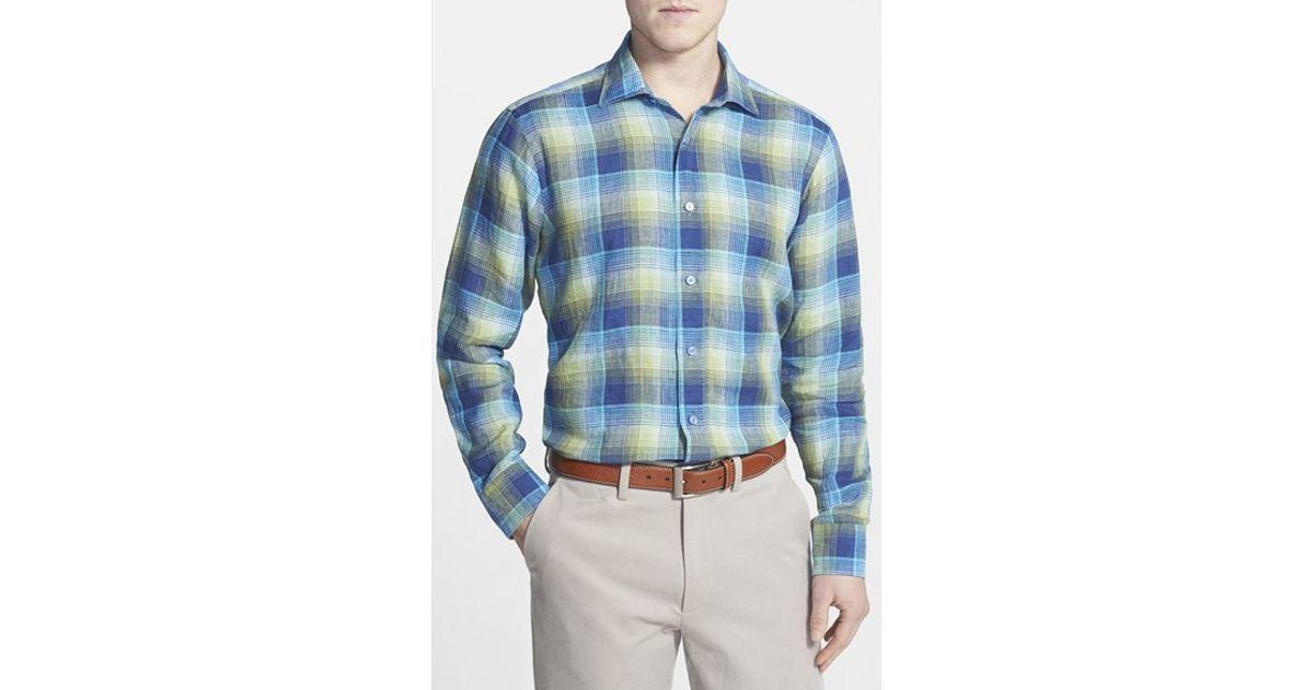 Robert talbott 39 crespi 39 tailored fit plaid linen sport for Robert talbott shirts sale