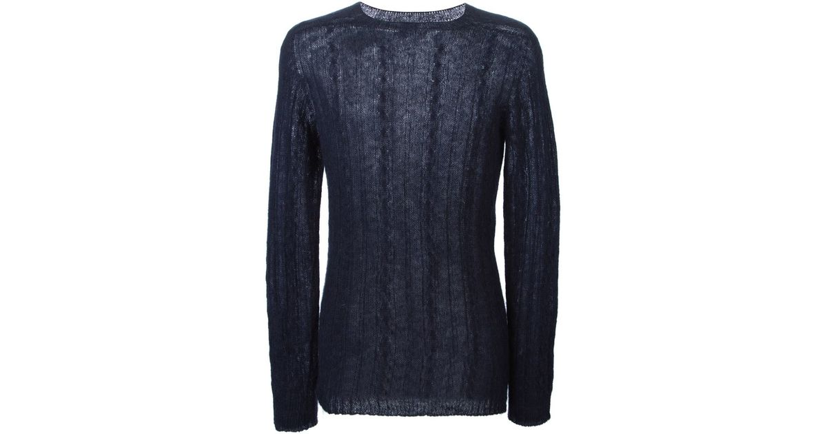 Laneus Fine Cable Knit Sweater in Blue for Men | Lyst