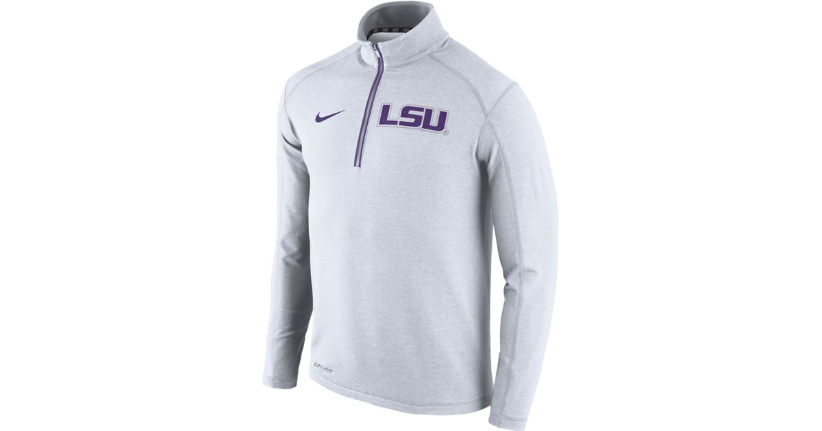 Nike Men's Lsu Tigers Game Day Quarter-zip Pullover in White for ...