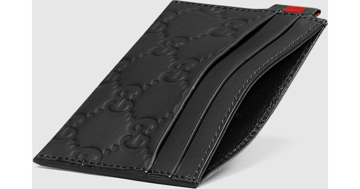 325ac65213 Gucci Black Rubber Ssima Leather Card Case for men
