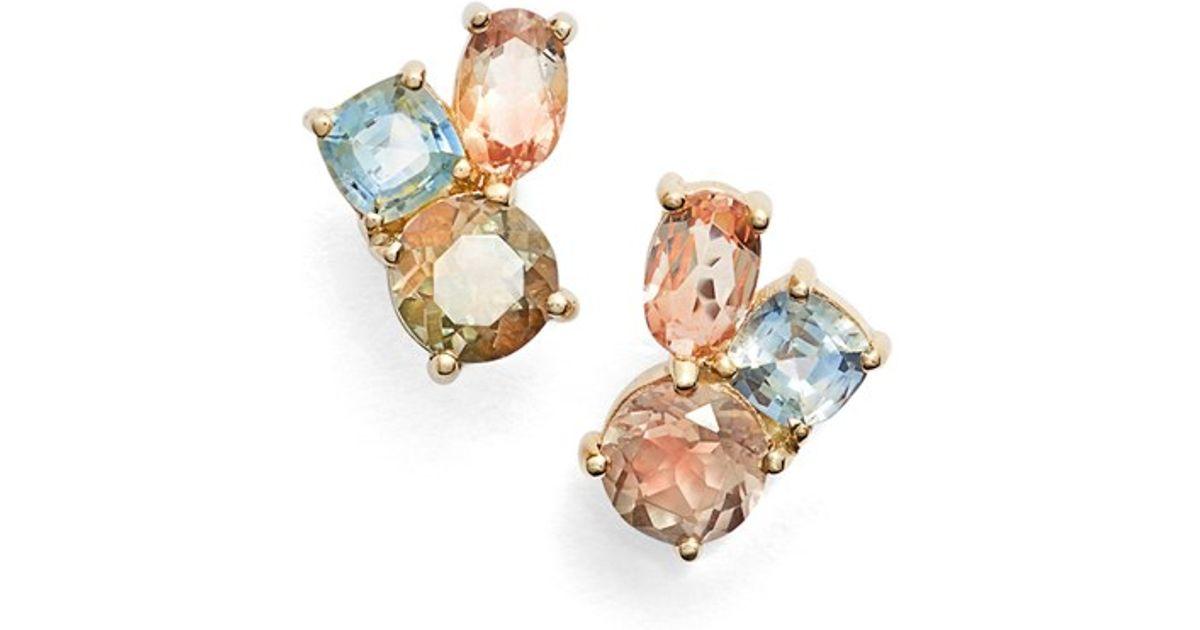 4a8549b54 Lyst - Mociun Oregon Sunstone & Sapphire Cluster Earrings in Blue