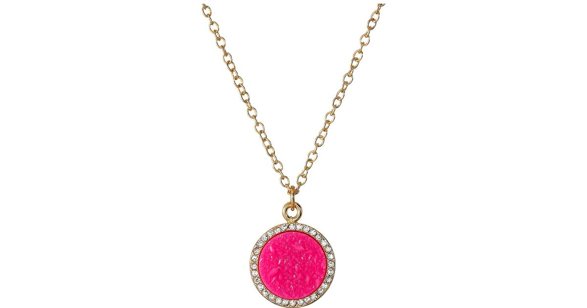 Lyst kate spade new york all that glitters druzy pendant necklace lyst kate spade new york all that glitters druzy pendant necklace in pink aloadofball Images