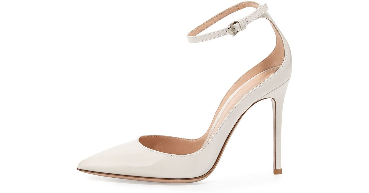 d47e5d73d Gianvito Rossi Patent Ankle-Wrap Pumps in White - Lyst