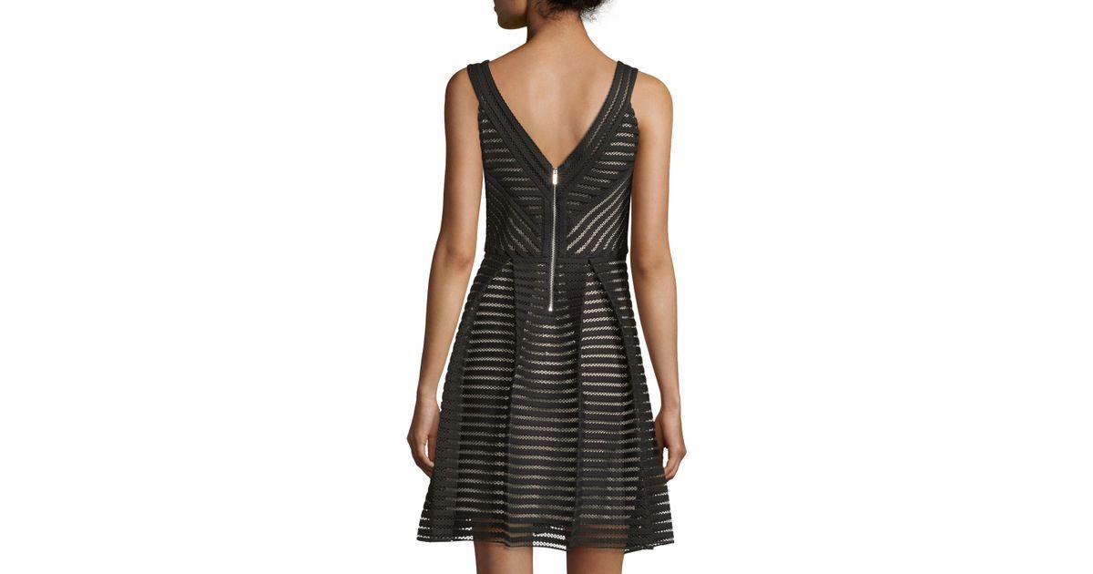 Julia Jordan - Black Horizontal Lace Fit-and-flare Dress - Lyst