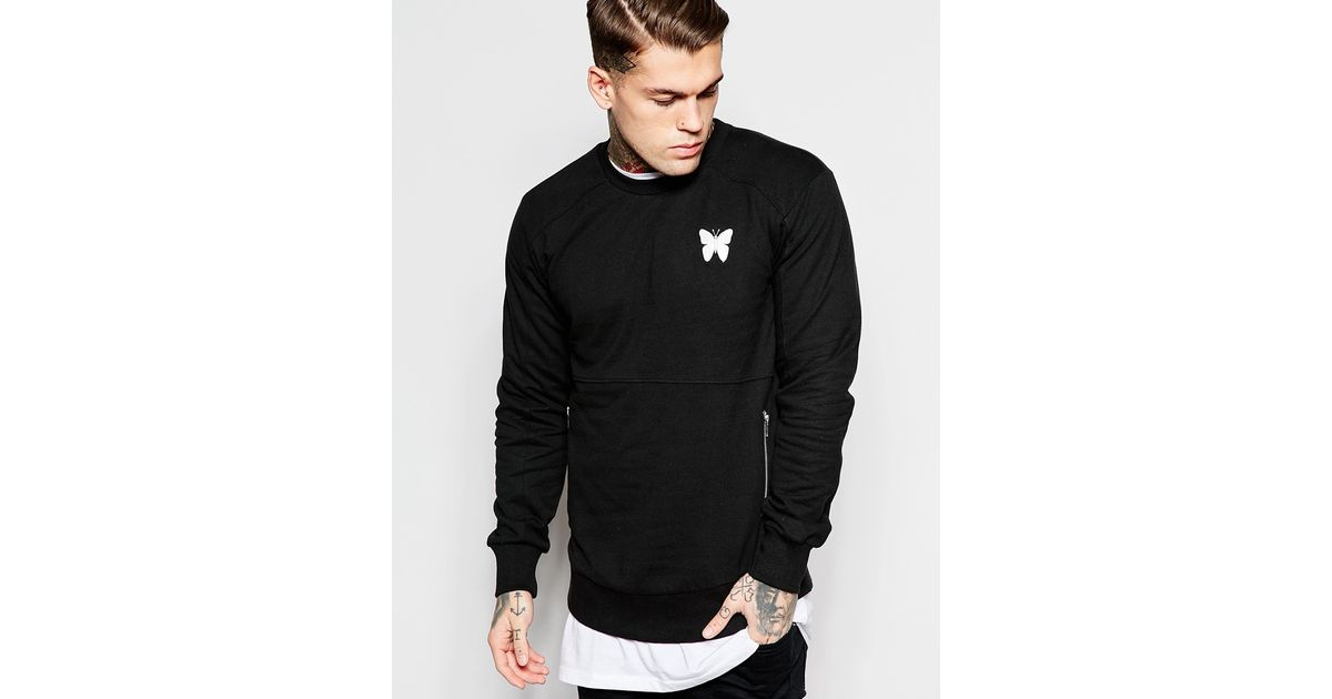 Lyst - Good For Nothing Sweatshirt With Zip Pockets And Back Print in Black  for Men