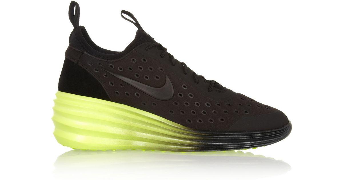 hot sales 5cfac b44af Nike Lunarelite Sky Hi Canvas And Suede Wedge Sneakers in Black - Lyst