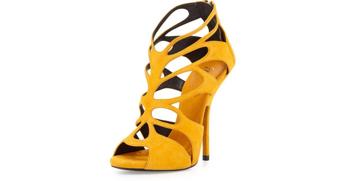 eb7c6c4d85b Lyst - Giuseppe Zanotti Suede Caged High-Heel Sandal in Yellow