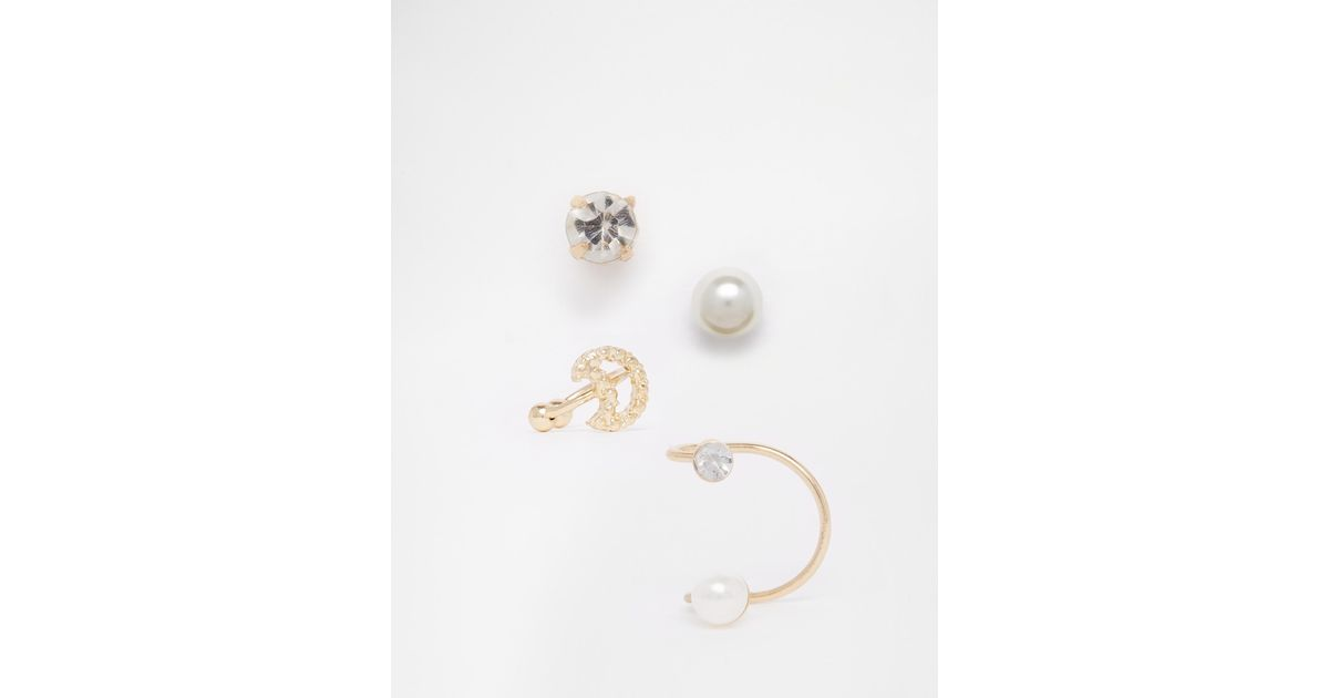4be4cb85cac4d ASOS Multicolor Mismatch Ear Cuff And Stud Pack