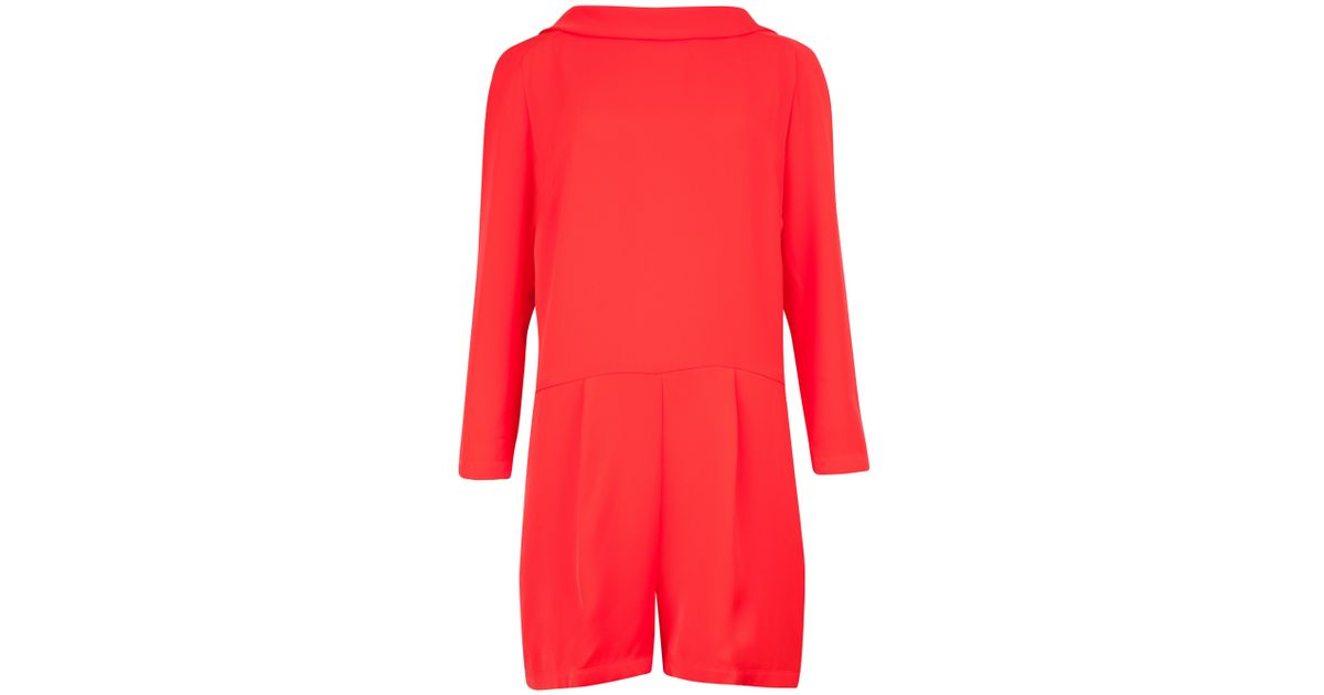 c52bb21653cc Ted Baker Long Sleeved Mertica Playsuit in Red - Lyst