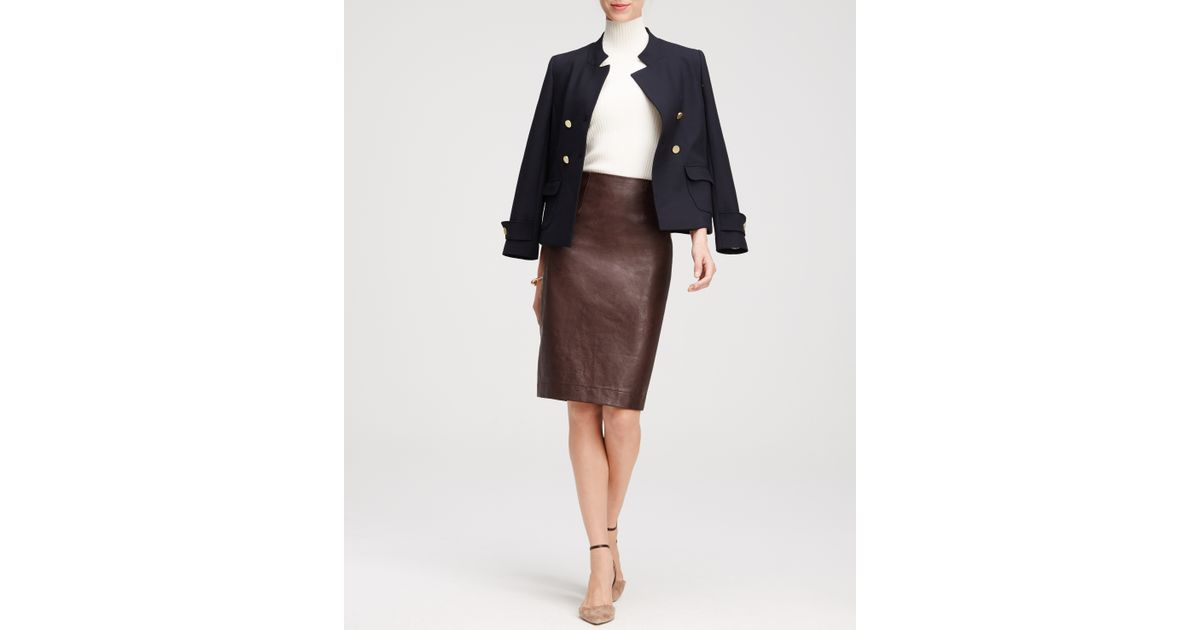faux leather pencil skirt in cherry brown