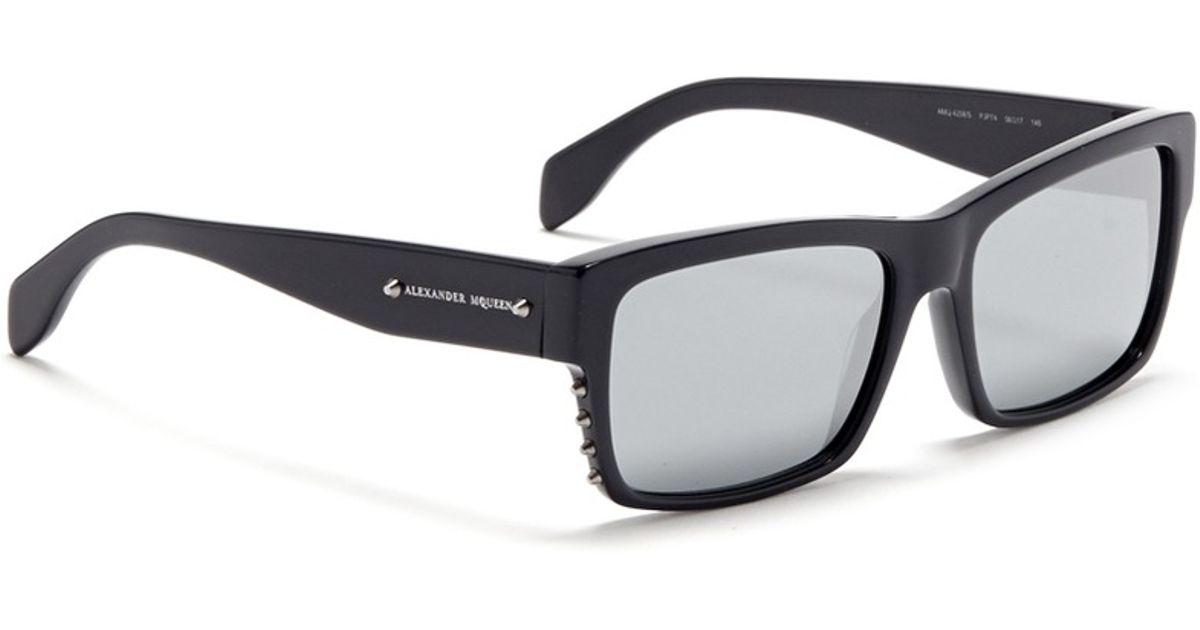 3b619d72df1 Alexander McQueen Stud Rectangle Frame Acetate Sunglasses in Black - Lyst