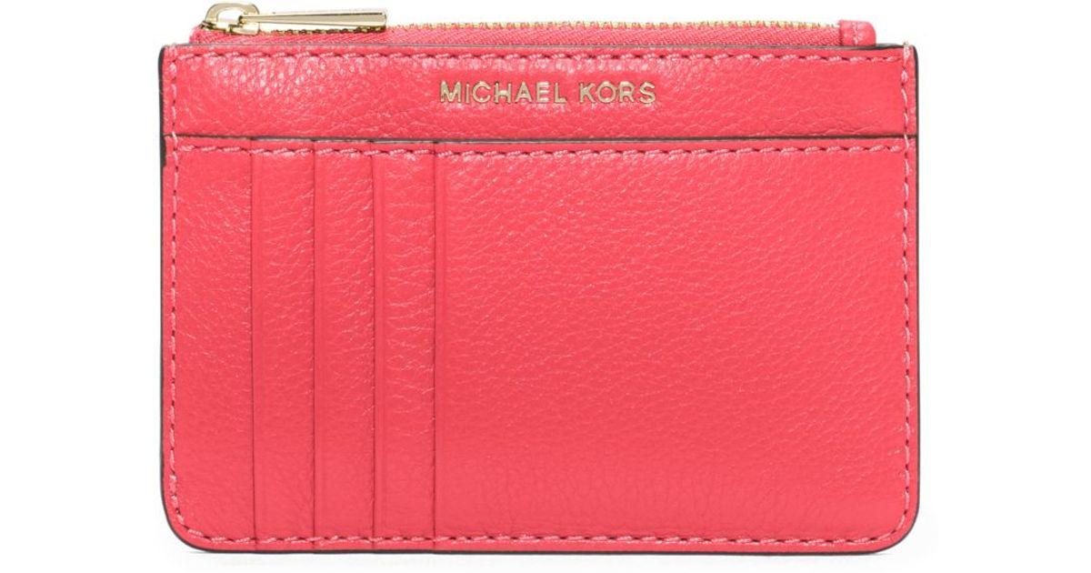 8073daf983da Michael Kors Liane Leather Card Holder in Pink - Lyst