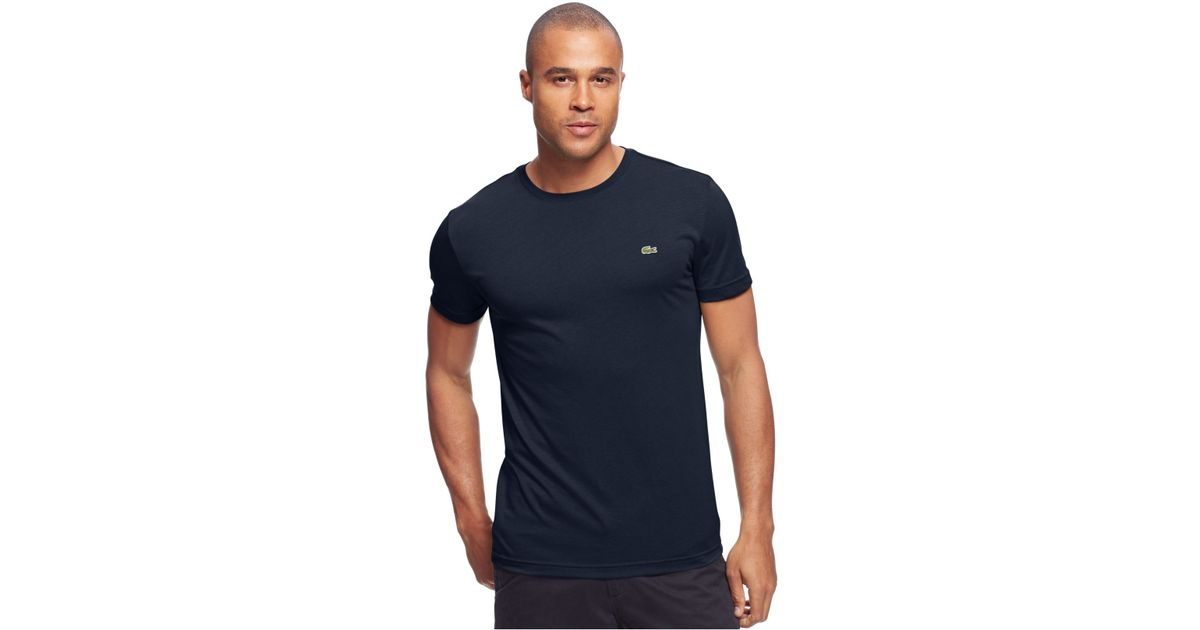 a450405712 Lacoste Blue Big And Tall Solid Crew-Neck Jersey T-Shirt for men