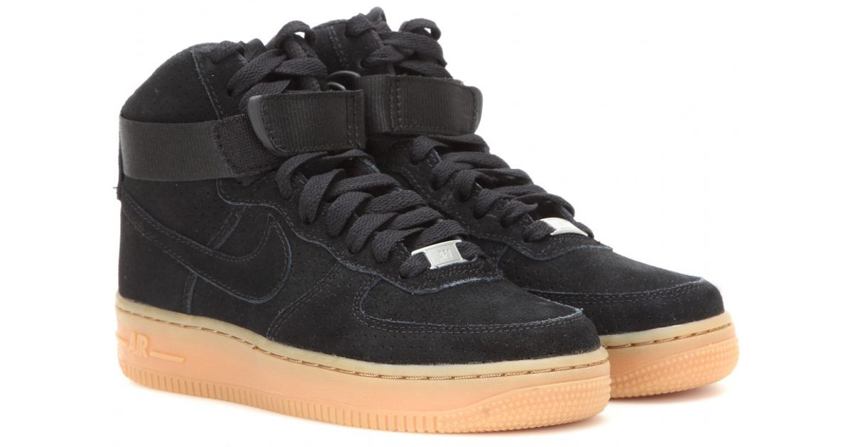 half off eb8ea c8a41 Nike Air Force 1 Suede High-top Sneakers in Black - Lyst