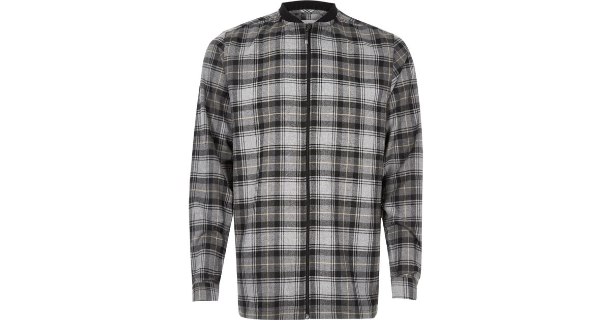 River island grey check flannel baseball shirt in grey for for Places to buy flannel shirts