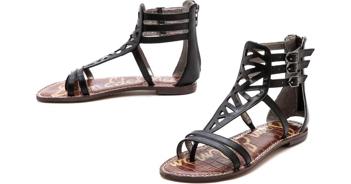 59e0649c8 Lyst - Sam Edelman Georgia Cutout Flat Sandals in Black