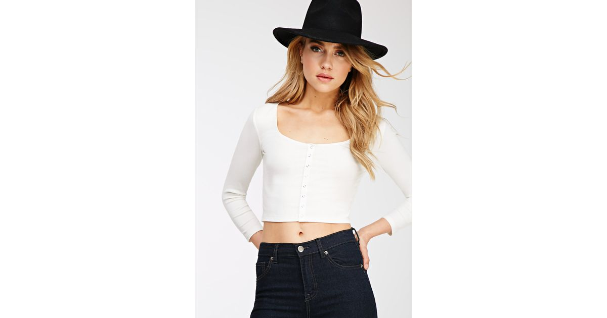 3254d182004 Forever 21 Ribbed Snap-Button Crop Top in Natural - Lyst